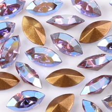 Strass Navete Swarovski art. 42002 base conica Light Ametista Aurora Boreal 8x4mm
