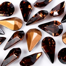 Strass Gota Swarovski art. 43002 base conica Smoked Topaz 10x6mm